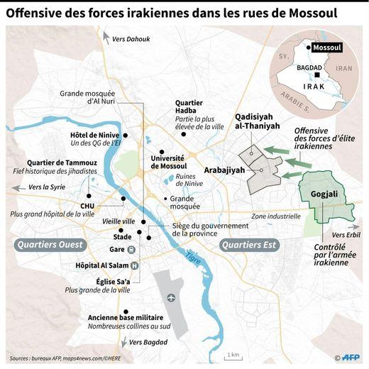 Offensive des forces irakiennes dans les rues de Mossoul