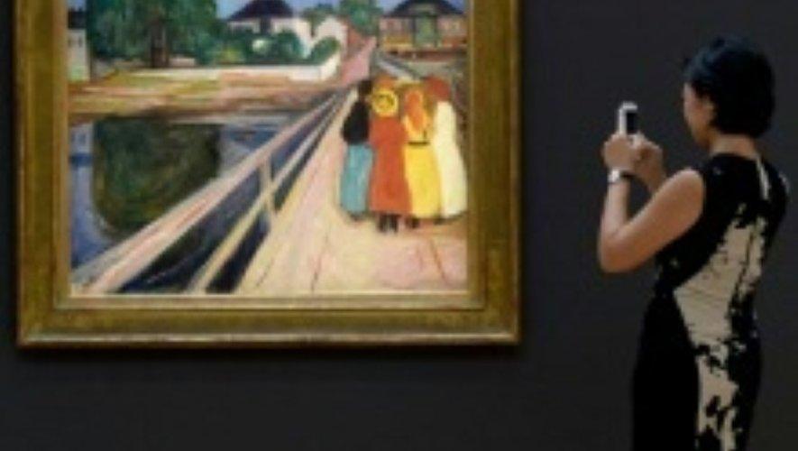 """Le tableau """"Filles sur le pont"""" d'Edvard Munch, le 4 novembre 2016 à New York"""