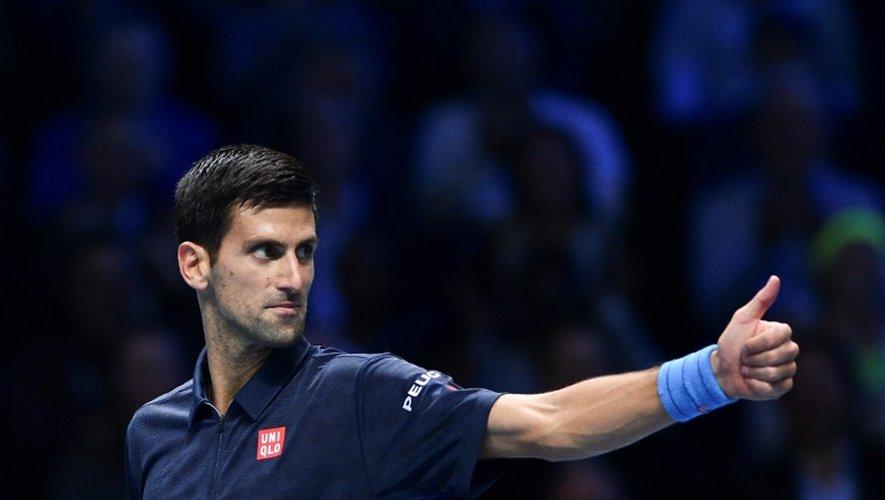 Le Serbe Novak Djokovic face au Belge David Goffin , le 17 novembre 2016 au Masters à Londres