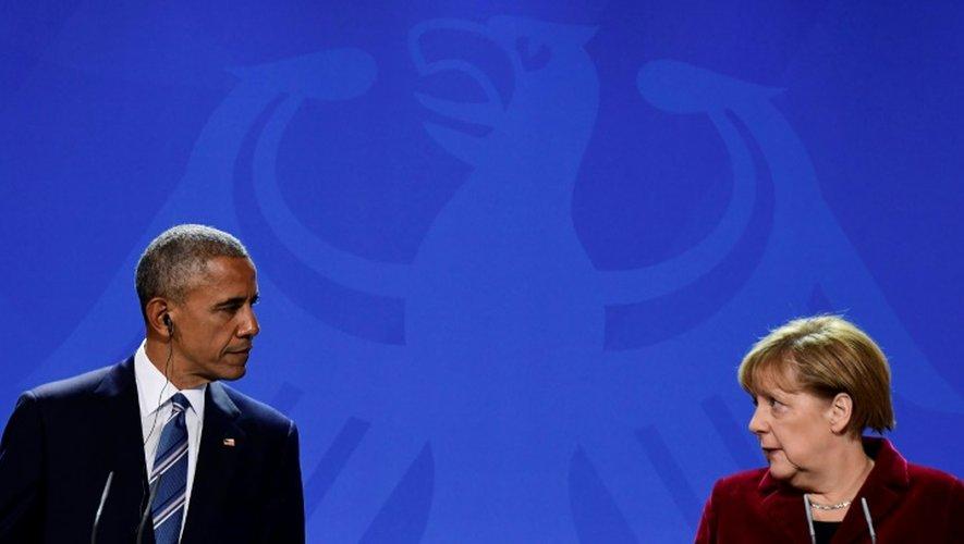 Barack Obama et Angela Merkel, lors d'une conférence de presse, à Berlin
