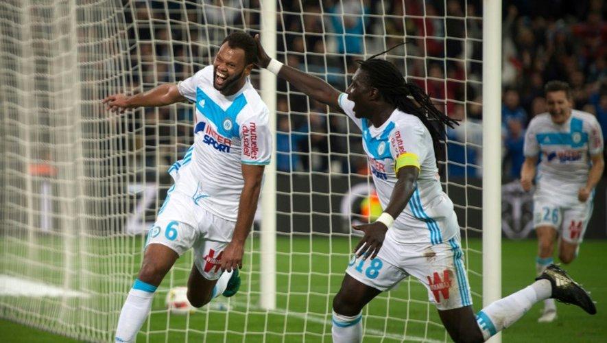La joie de Rolando (g) après son but pour l'OM face à Caen, le 20 novembre 2016 à Marseille