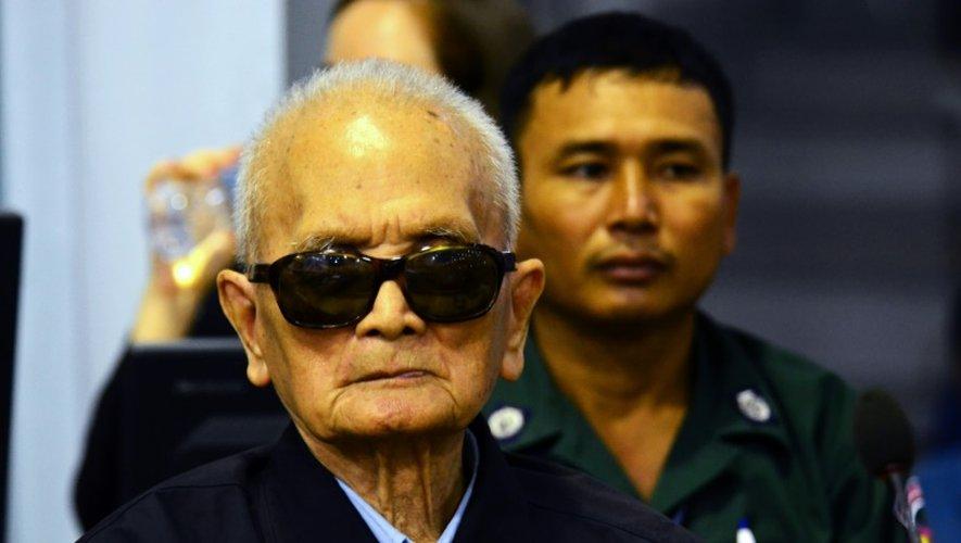L'ancien dirigeant khmer rouge Nuon Chea au tribunal international de Phnom Penh, le 23 novembre 2016 au Cambodge