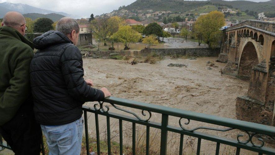 Montée des eaux de la rivière Golo le 24 novembre 2016 à Ponte-Leccia en Corse