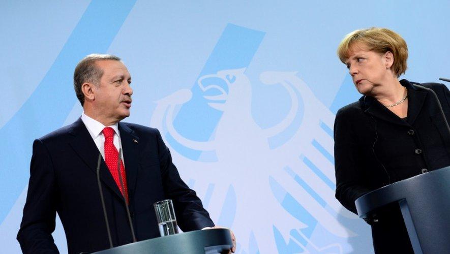 La chancelière allemande Angela Merkel et le président turc Recep Tayyip Erdogan lors d'une conférence de presse, le 31 octobre 2012 à Berlin