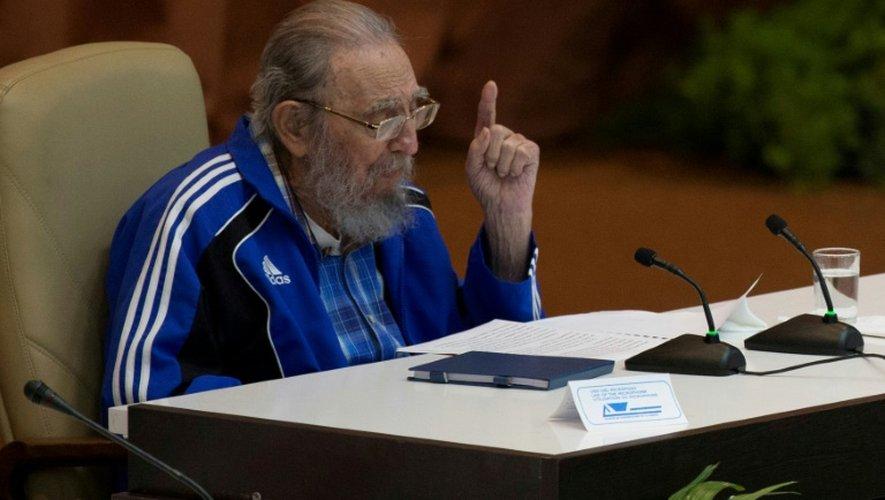 Fidel Castro à la clôture du Congrès du parti communiste cubain le 19 avril 2016 à La Havane