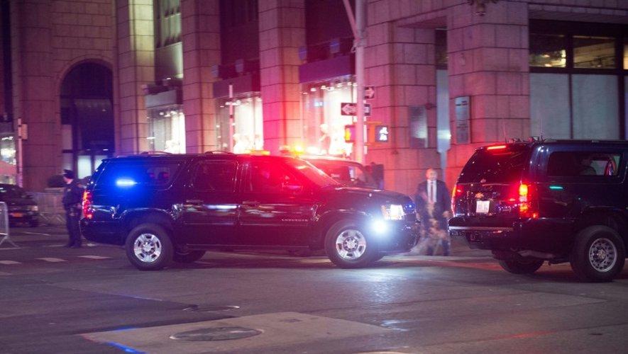 La voiture transportant le président élu Donald Trump vers la Trump Tower à New York, le 27 novembre 2016