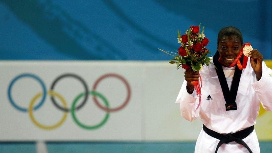 La Française Gwladys Epangue, médaillée de bronze en taekwondo aux JO de Pékin, le 22 août 2008