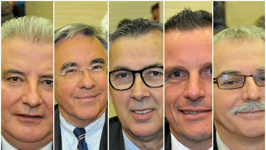 Que des hommes ! Les cinq candidats, de gauche à droite : Jean-Claude Anglars, Jean-François Galliard, Bernard Saules, Jean-Philippe Sadoul et Vincent Alazard.