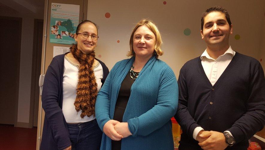 Au CIDFF, à Rodez, Anne Raza (psychologue), Aurélie Brégier (directrice) et Stephan Bénézech (juriste)reçoivent près de 1 000 personnes par an dont 150 à 200 victimes.