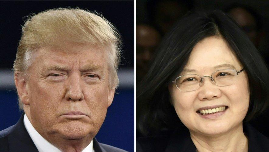 Combo du président américain Donald Trump (G) à Saint-Louis le 9 octobre 2016 et la présidente taïwanaise Tsai Ing-wen à Panama le 27 juin 2016