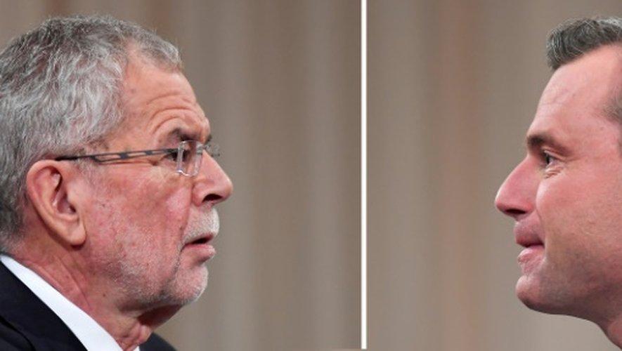 Alexander Van der Bellen (g), ancien patron des Verts autrichiens, face à Nobert Hofer, son adversaire du Parti de la Liberté d'Autriche (FPÖ)