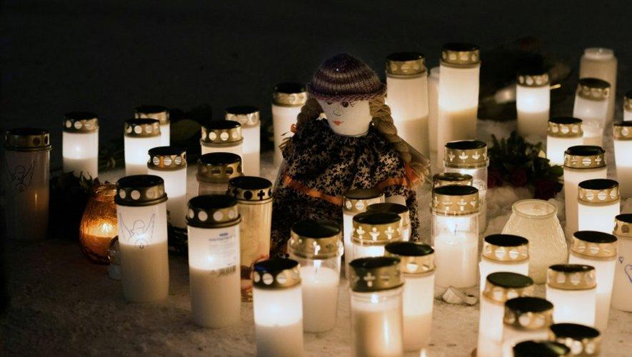 Mémorial en hommage aux trois femmes assassinées à Imatra, en Finlande, le 4 décembre 2016