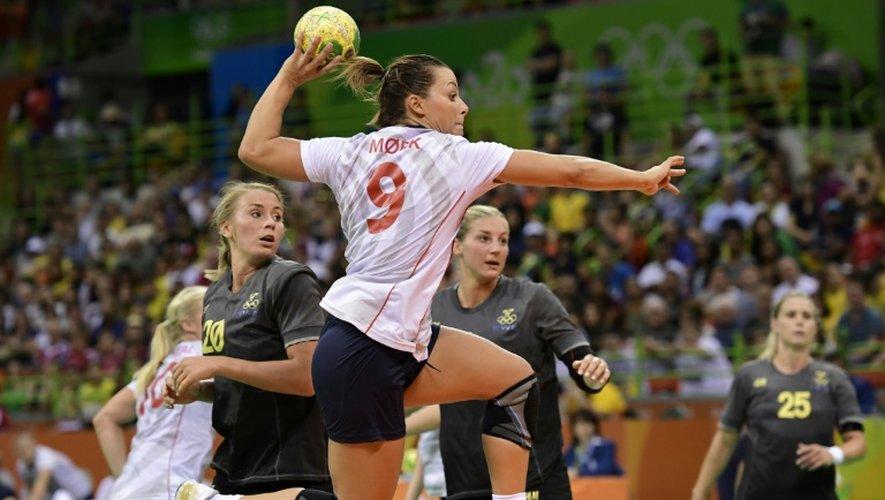 Na Norvégienne Nora Mørk, le 16 août 2016 à Rio lors du quart de finale des JO face à la Suède