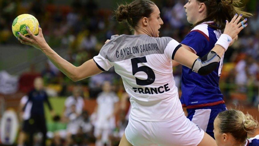 Camille Ayglon Saurina lors de la finale du tournoi olympique perdue face à la Russie, le 20 août 2016 à Rio de Janeiro