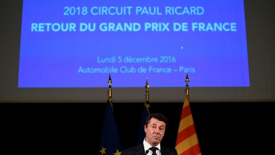 Christian Estrosi, le 5 décembre 2016 à Paris lors de l'annonce du retour du GP de F1 à Castellet