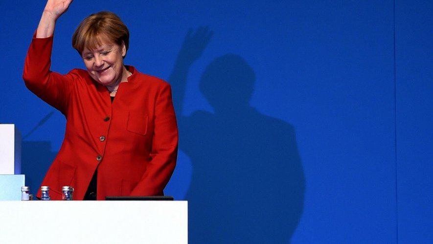 La Chancelière allemande Angela Merkel après sa réélection à la tête de la CDU, le 6 décembre 2016 à Essen