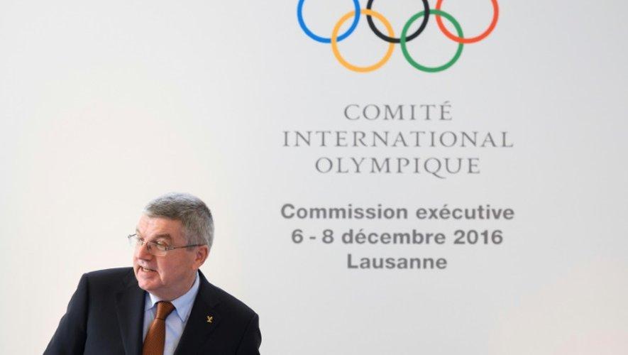 Le président du CIO Thomas Bach lors de son allocution à l'ouverture de la commission exécutive de l'instance sportive internationale, le 6 décembre 2016 à Lausanne