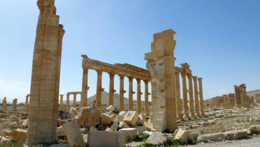 Photo du 27 mars 2016 des vestiges de l'Arc de Triomphe de Palmyre
