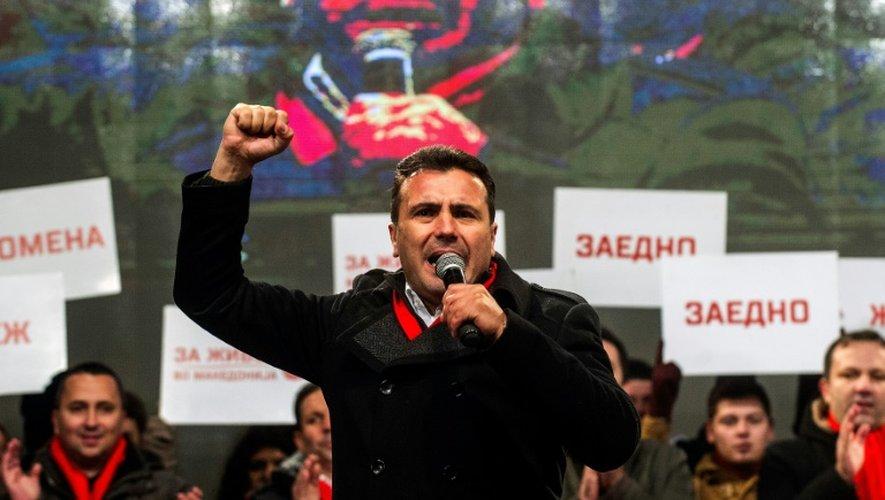 Zoran Zaev, responsable du parti social-démocrate, s'adresse à ses partisans lors d'un meeting électoral, le  9 décembre 2016 à Skopje
