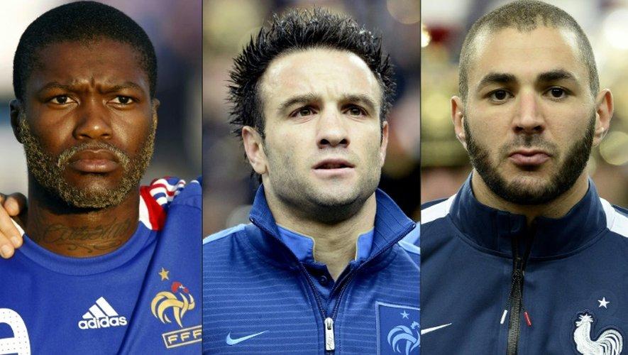 (de g à d) Les footballeurs Djibril Cissé, Mathieu Valbuena et Karim Benzema
