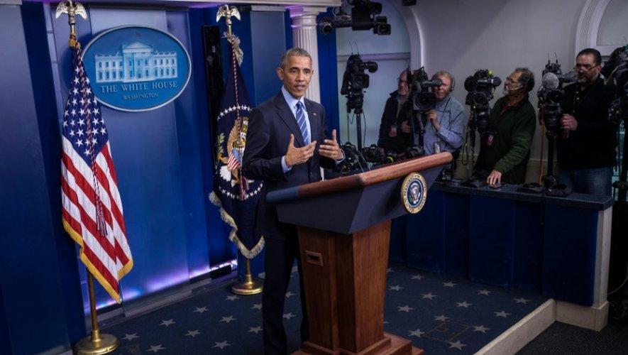 Le président américain Barack Obama en conférence de presse à Washington, le 16 décembre 2016