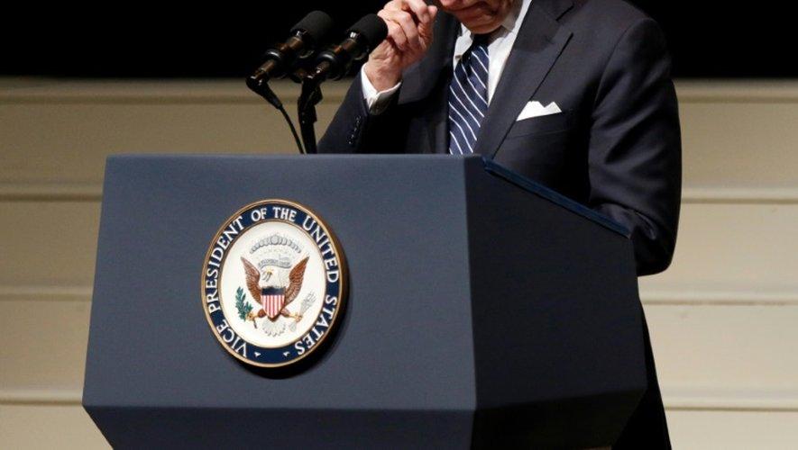 Le vice-présiodent américain Joe Biden lors d'une cérémonie publique en hommage à l'ancien astronaute John Glenn, le 17 décembre 2016 à Columbus (Ohio)