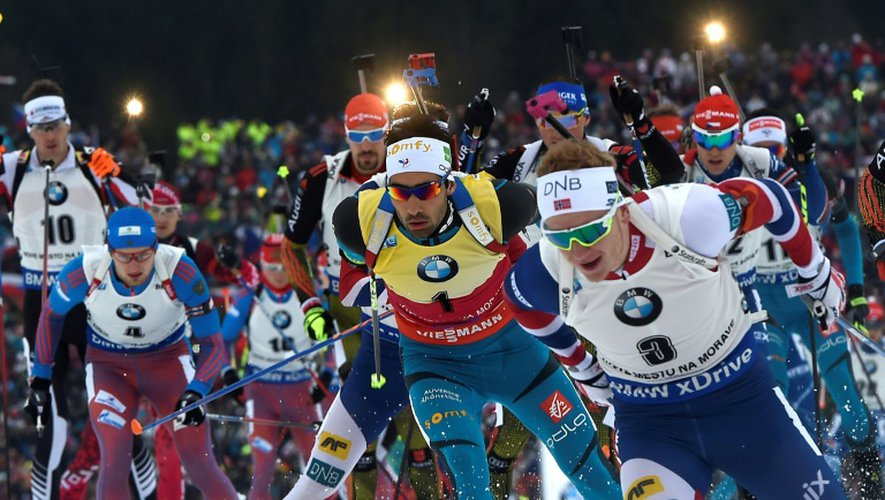Le biathlète Martin Fourcade (c) lors de la mass start 15 km de Nove Mesto, le 18 décembre 2016
