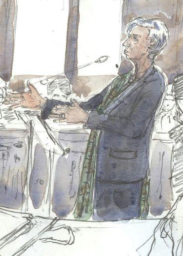 Croquis d'audience représentant Christine Lagarde, le 15 décembre 2016 devant la Cour de justice de la République à Paris