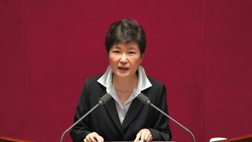 La présidente sud-coréenne Park Geun-Hye le 24 octobre 2016 à l'Assemblée  à Séoul