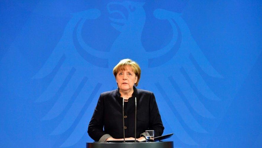La chancelière Angela Merkel s'exprime à Berlin le 20 décembre 2016 après l'attentat