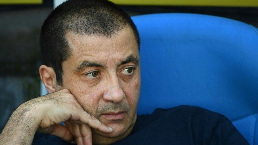 Le président du RC Toulon Mourad Boudjellal observe le match de Top 14 face à Montpellier, au Vélodrome, le 2 octobre 2016