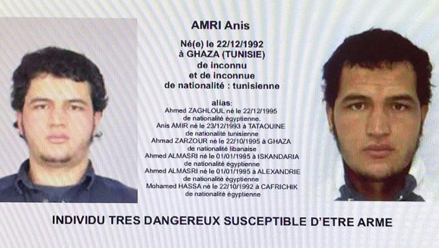Capture d'écran montrant un mandat d'arrêt visant le Tunisien Anis Amri, suspect de l'attentat au camion-bélier de Berlin