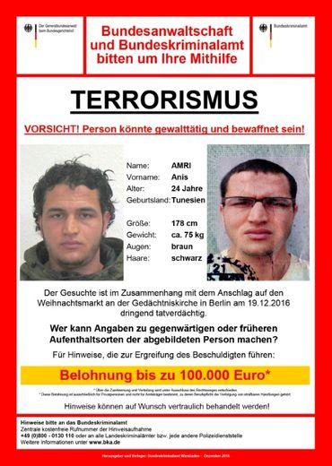 L'avis de recherche de Anis Amri, lancé le 21 décembre 2016 par la police allemande