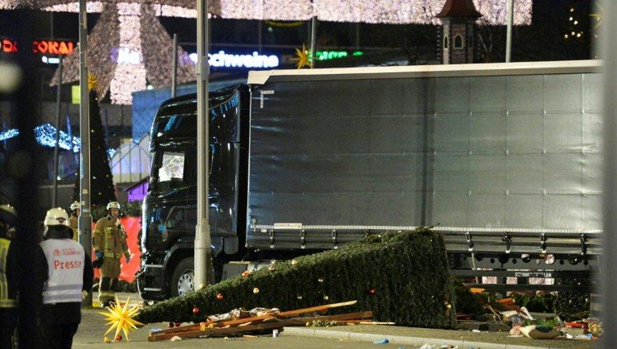 Le camion utilisé pour l'attaque sur le marché de Noël, le 19 décembre 2016 à Berlin