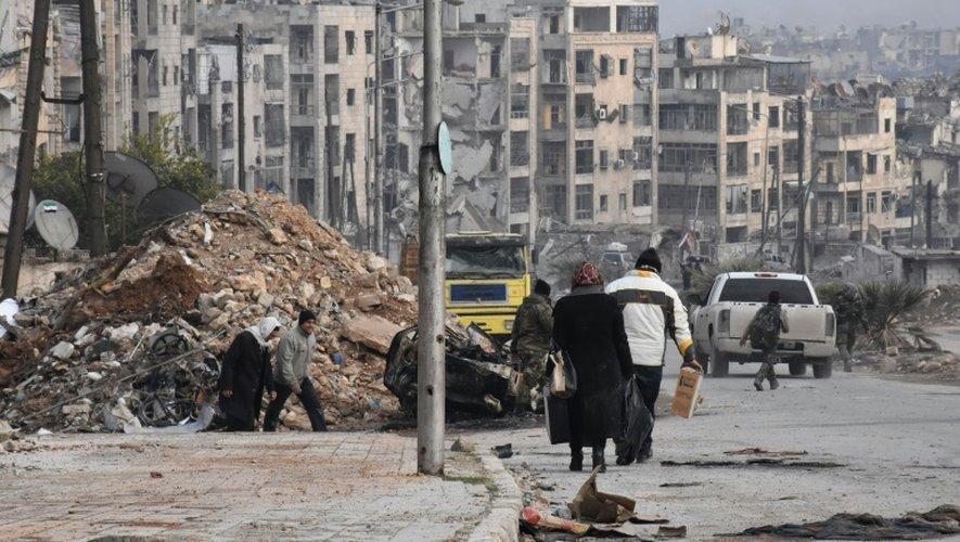 Les ruines d'un ancien quartier rebelle, au nord d'Alep, le 23 décembre 2016