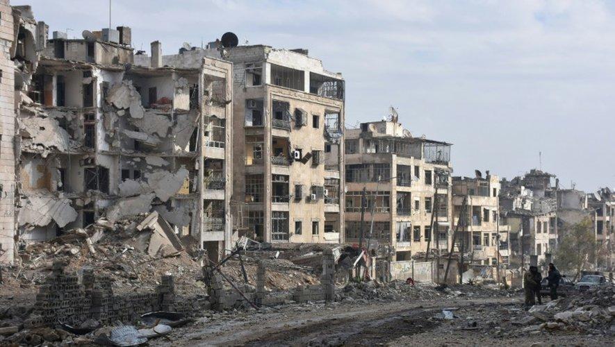 Le district Ansari repris aux rebelles par l'armée syrienne à Alep, le 23 décembre 2016