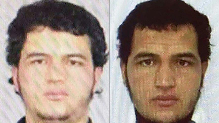 Montage de photos du Tunisien Anis Amri, suspecté d'être l'auteur de l'attentat au camion-bélier à Berlin, le 19 décembre 2016
