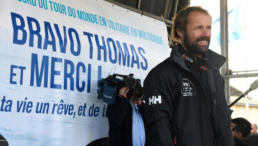 Le skipper Thomas Coville accueilli en héros à Brest, le 26 décembre 2016