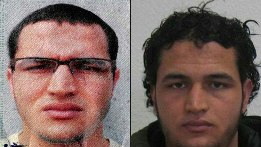 Montage de portraits fourni le 19 décembre 2016 par la police allemande du Tunisien Anis Amri, suspecté d'avoir commis  l'attentat au camion-bélier à Berlin