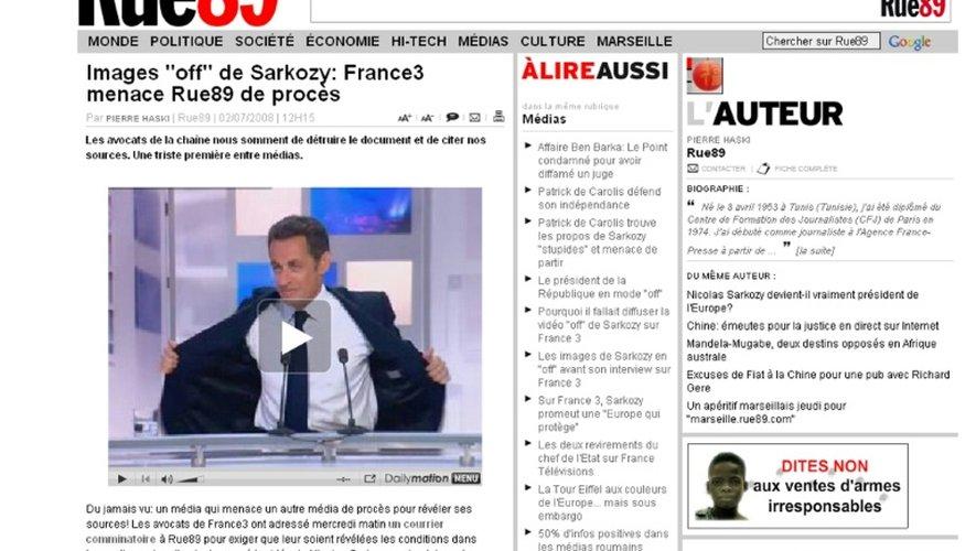 Saisie d'écran réalisée le 2 juillet 2008 à Paris d'une page du site internet de Rue89, proposant l'accès en ligne à une vidéo de Nicolas Sarkozy s'exprimant sur le plateau de France 3, avant son interview proprement dite, le 30 juin 2008