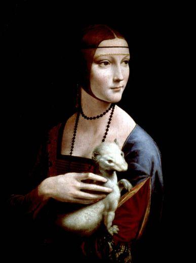 """Reproduction en date du 12 octobre 1998 du tableau intitulé """"La Dame à l'Hermine"""", de Léonard de Vinci"""