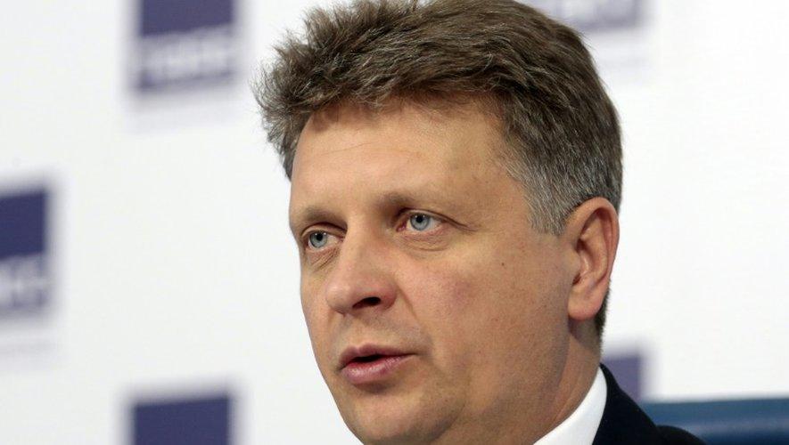 Le ministre russe des Transports Maxim Sokolov lors d'une conférence de presse le 29 décembre 2016 à Moscou