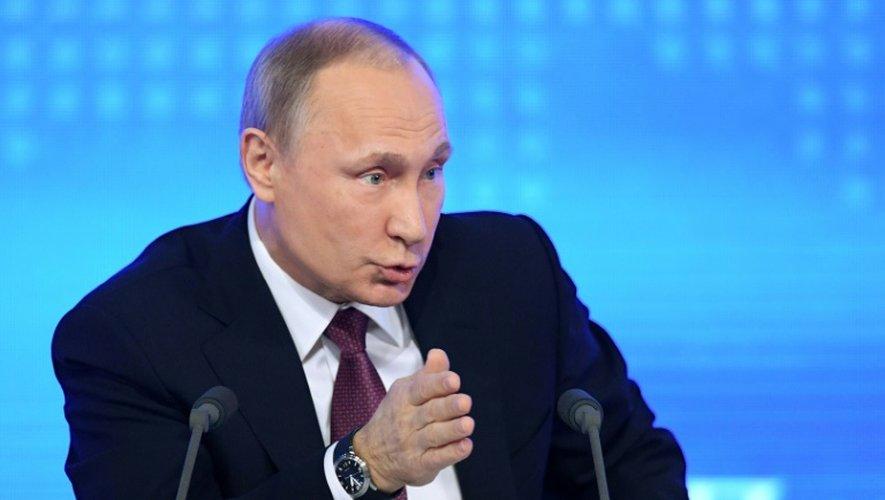 Le président russe Vladimir Poutine lors d'une conférence de presse à Moscou, le 23 décembre 2016