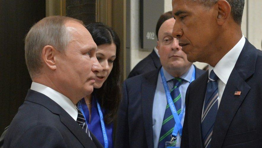 La tension est vive entre MM. Obama et Poutine, photographiés le 5 septembre 2016 lors du sommet du G20 en Chine