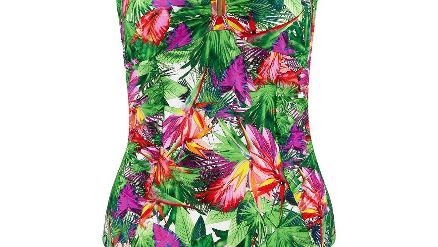 """Le maillot de bain une-pièce sans armature """"Fleur Tropicale"""", couleur Paon, par Aubade. Existe en plusieurs formes. Prix : 139€. Site : www.aubade.fr."""
