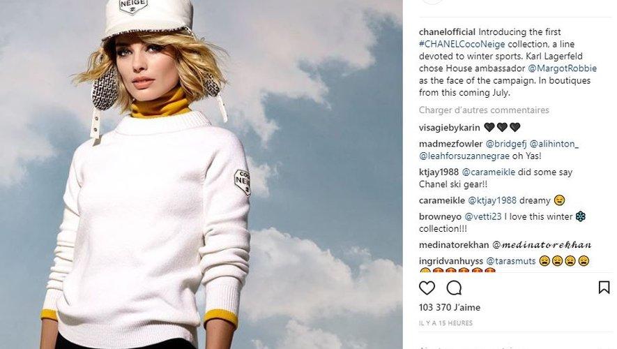 """L'actrice Margot Robbie incarne la campagne dédiée à la collection """"Coco Neige"""" de Chanel."""