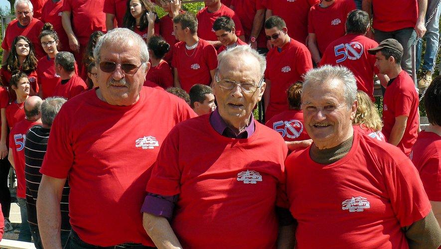 Les joueurs de la première heure (de gauche à droite) : Henri Recoules (président fondateur), François Vayrou  et Simon Niel. Repro CP