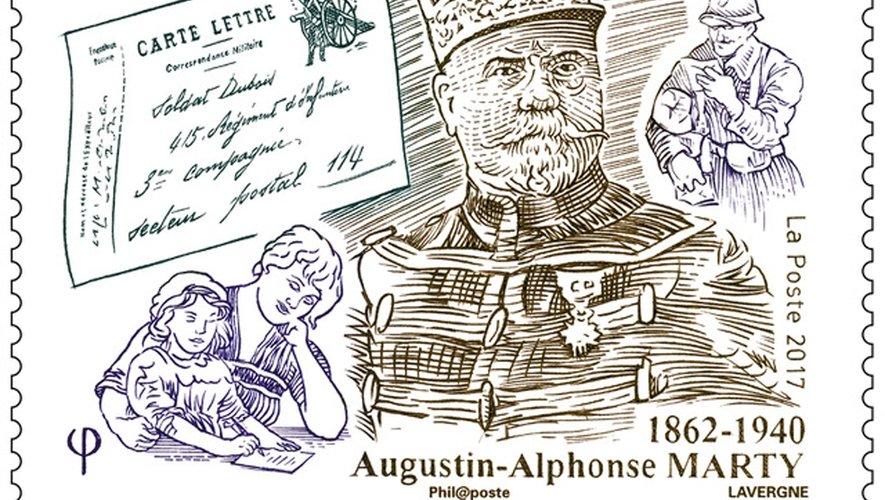 Augustin-Alphonse Marty, poilu de la Grande Guerre, dessiné et gravé en taille douce par André Lavergne.