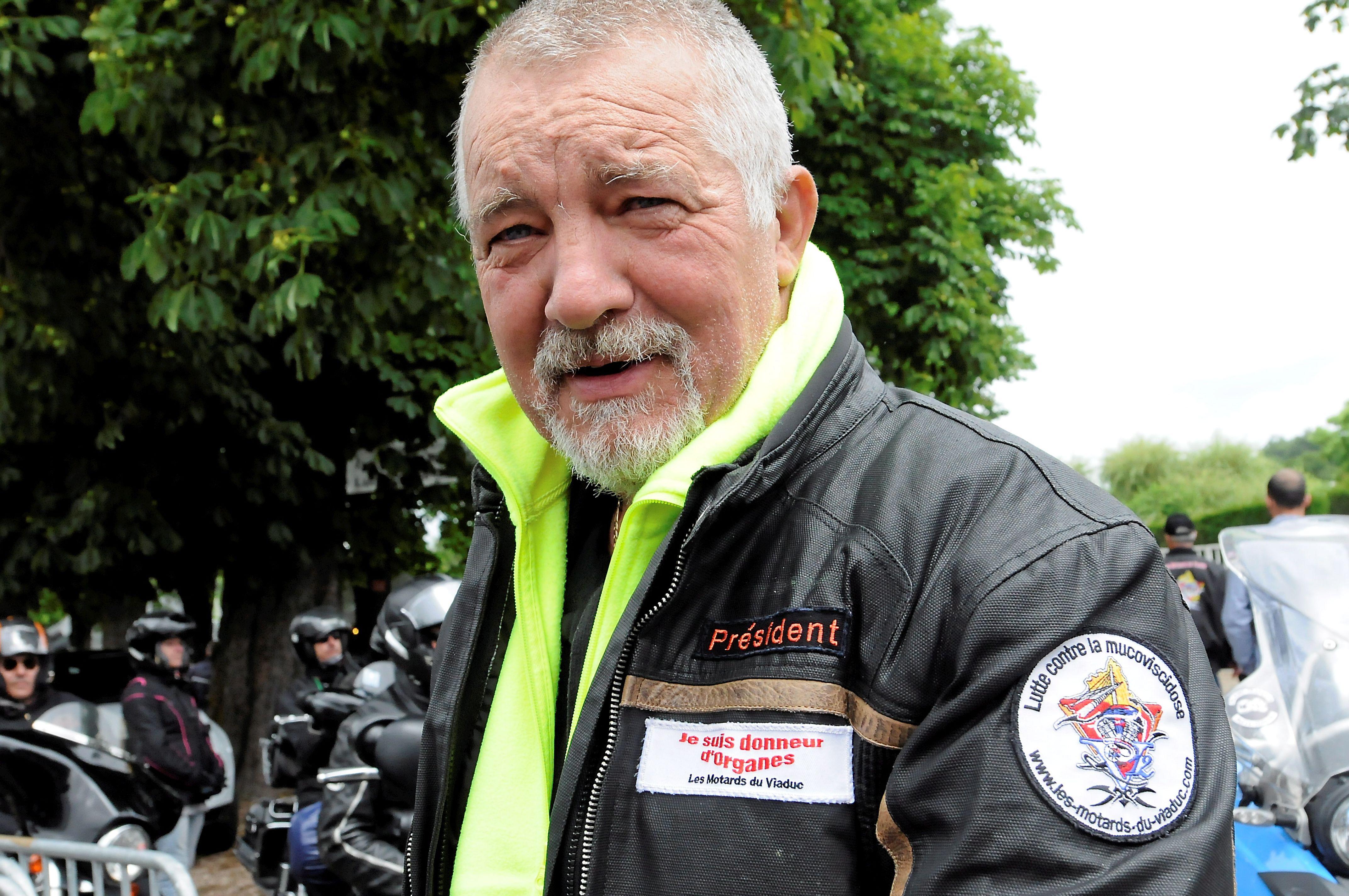 Christian Le Mellec lors d'un rassemblement des motards du Viaduc.