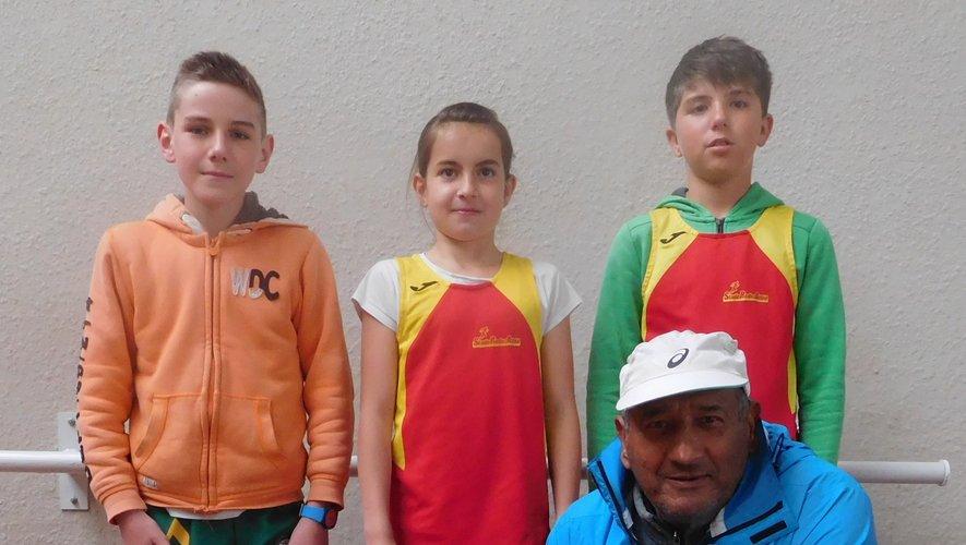 Olivier avec 3 des 4 athlètes présents à Vabre samedi